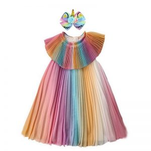 Unicorn Chiffon Tutu Dress With Headband