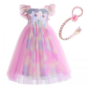 Unicorn Princess Dress With Flowers Headband