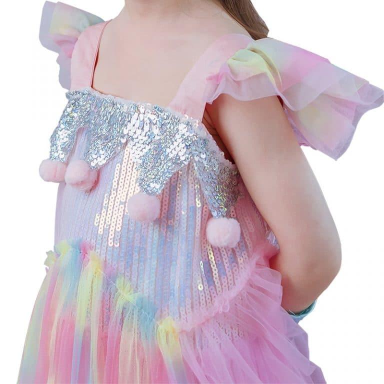 Unicorn Princess Dress With Flowers Headband