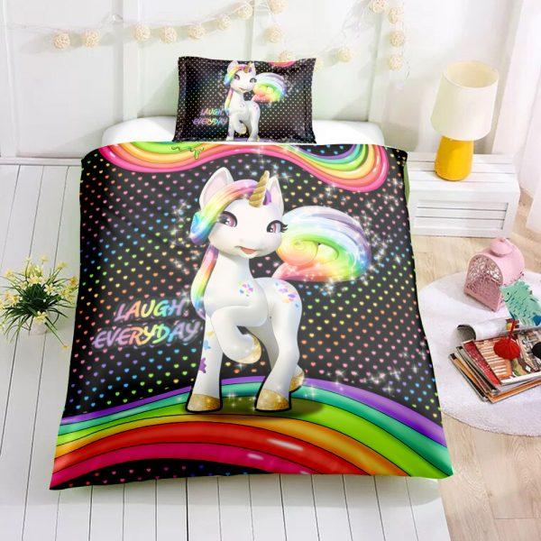 Rainbow Happy Unicorn Bedding Set