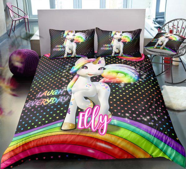 Personalized Colorful Unicorn Bedding Set