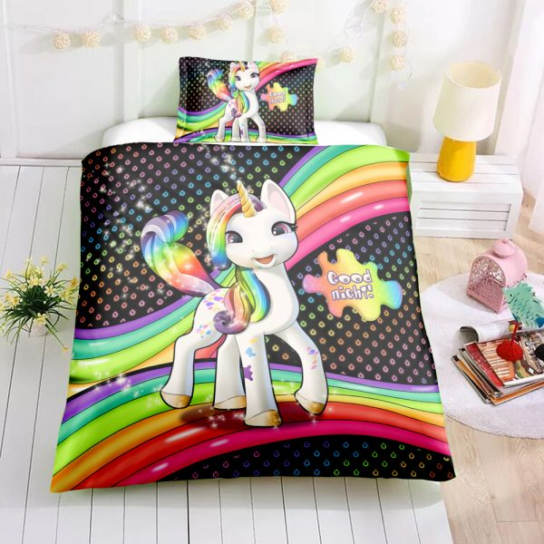 Personalized Custom Happy Rainbow Unicorn Bedding Set – Unicorn Gift For Girls – Unicorn Bedroom Set