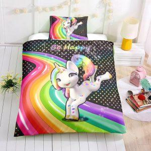 Personalized Custom Rainbow Jumping Unicorn Bedding Set – Unicorn Gift For Girls – Unicorn Bedroom Set