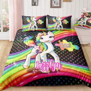 Personalized Happy Rainbow Unicorn Bedding Set