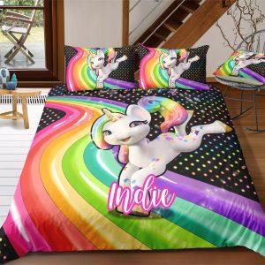 Personalized Rainbow Jumping Unicorn Bedding Set