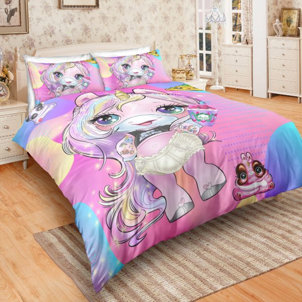Pink Unicorn Lady Bedding Set