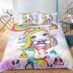 Rainbow Unicorn Lady Bedding Set