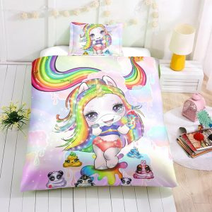 Rainbow Unicorn Lady Bedding Set