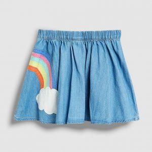 Little unicorn rainbow embroidery cotton skirt