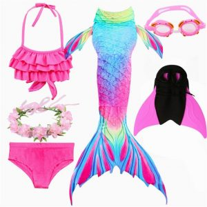 Girls Swimming Mermaid Tails With Monofin Swimsuit