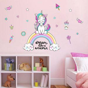 Colorful Unicorn Rainbow Wall Stickers