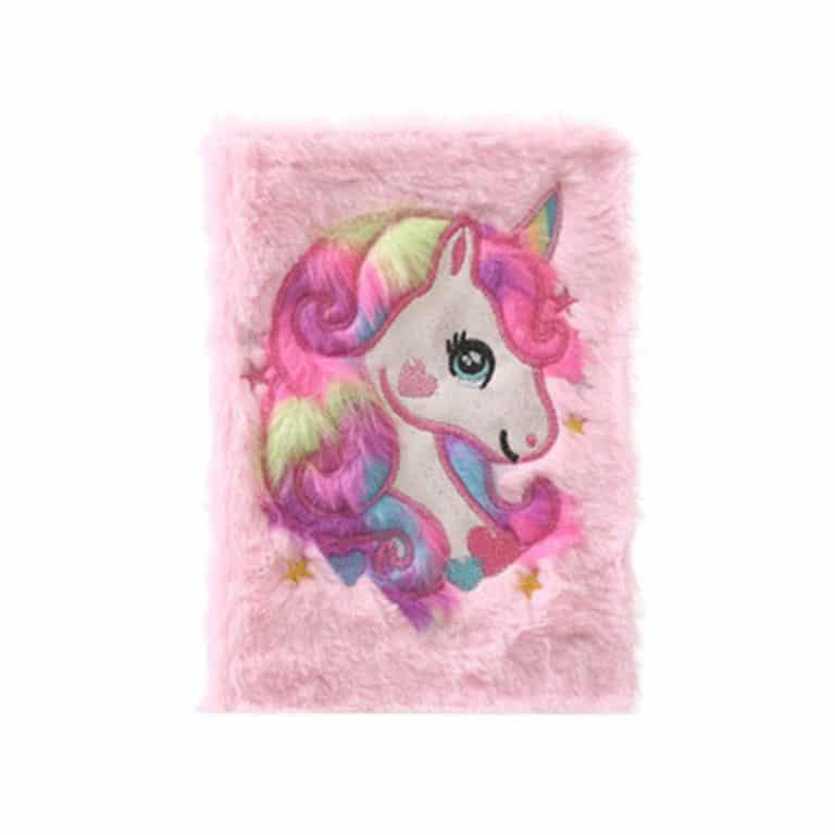 Unicorn Plush Cover A5 Notebook