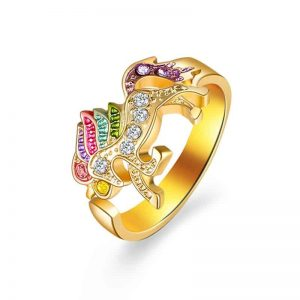 Temperament Unicorn Ring Alloy Crystal