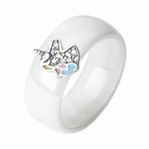 100% 925 Sterling Silver Unicorn Ceramic Rings