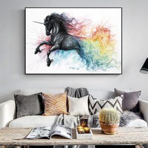 Beautiful Black Unicorn Canvas Wall Decoration