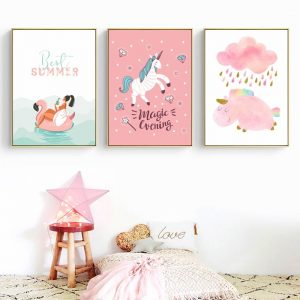 Pink Unicorn Canvas Wall Pictures