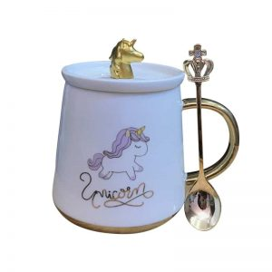 Super Cute Unicorn Mug with Lid and Spoon