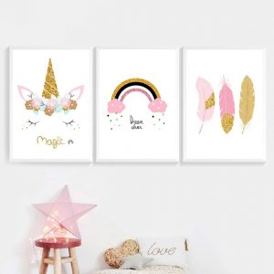 Rainbow Unicorn Feather Canvas Posters