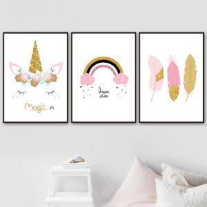 Rainbow Unicorn Feather Canvas Posters
