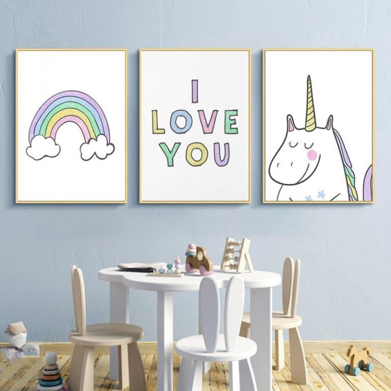 Rainbow Unicorn Nordic Style Poster