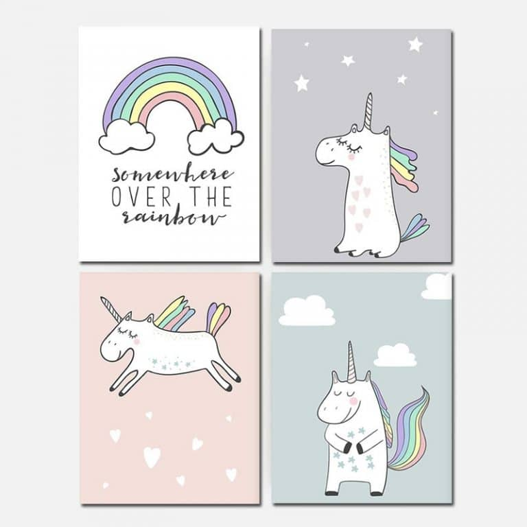 Unicorn Canvas Painting Wall Poster