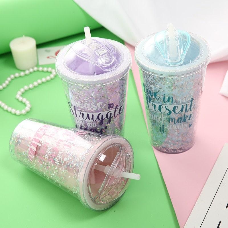 Double Layer Plastic Straw Mug
