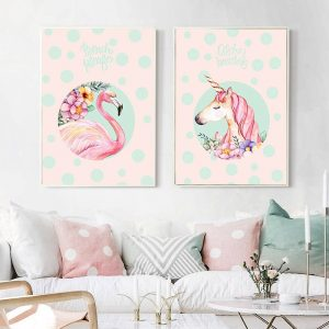 Unicorn Canvas Painting Nordic Poster