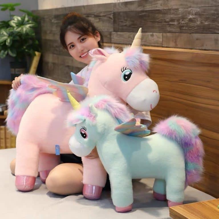 Fluffy Rainbow Wings Unicorn Plush Toy