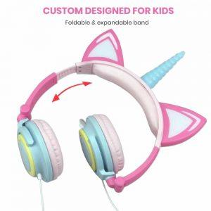 Foldable Flashing Unicorns Headphones