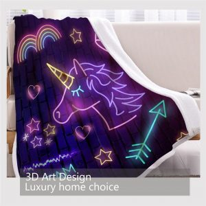 Neon Unicorn Fleece Throw Blanket