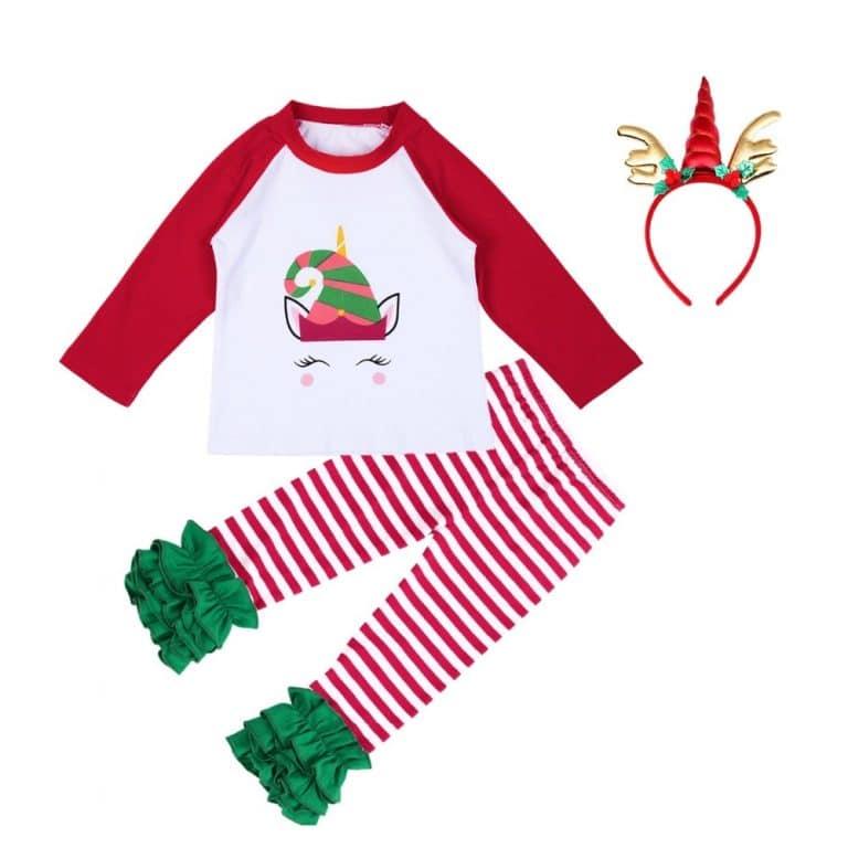 3pcs of Fashionable Unicorn Christmas Costume Set