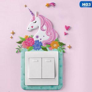 Animal/Unicorn/Flamingo 3D Silicone Luminous Light Switch Wall Sticker