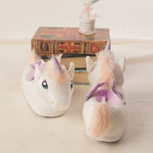 White Plush Unicorn Slippers