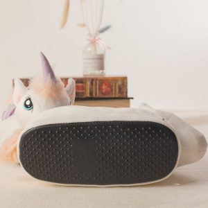 White Plush Unicorn Slippers