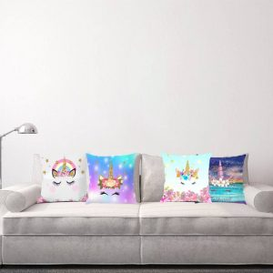 Hologram Galaxy Unicorn Pillow Cover