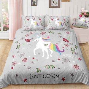 Adorable Unicorn Christmas Grey Bedding Set