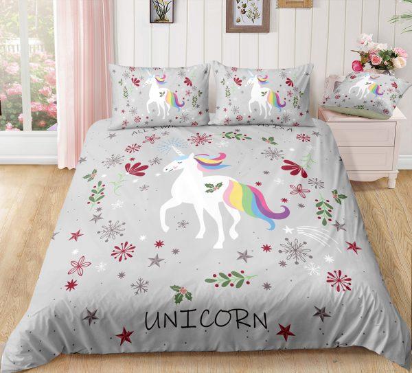 Adorable Unicorn Christmas Grey Bedding Set