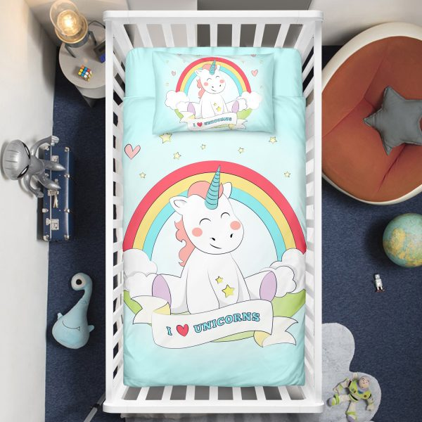 Baby Unicorn Sitting Under Rainbow Crib Bedding Set