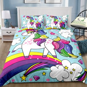 Cloudy Rainbow Unicorn Cartoon Bedding Set