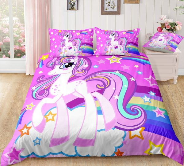 Elegant Purple Unicorn Stars Bedding Set