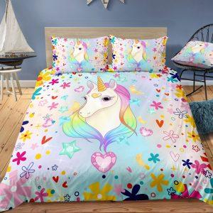 Falling Hearts & Rainbow Unicorn Bedding Set