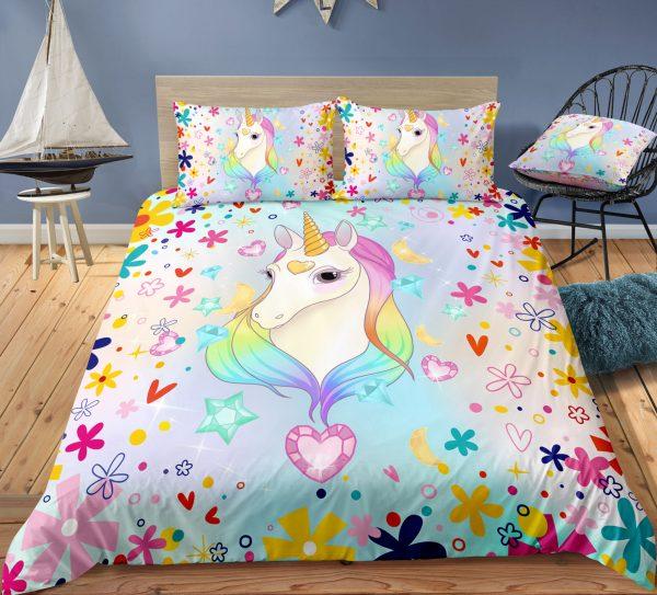 Falling Hearts & Rainbow Unicorn Bedding Set