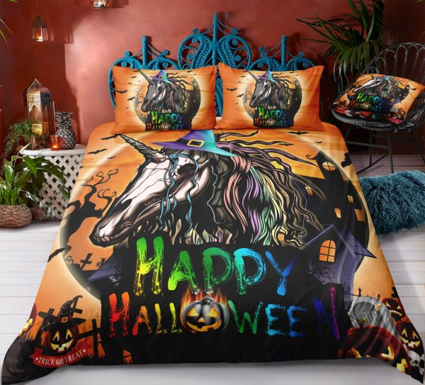 Scary Halloween & Unicorn Pumpkins Bedding Set