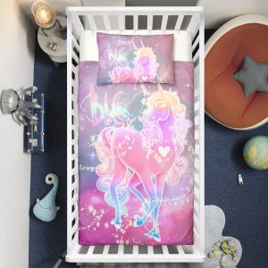 Hologram Crystal Unicorn Crib Bedding Set