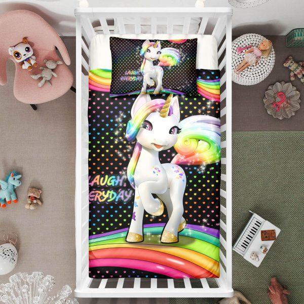 """Laugh Everyday"" Unicorn Crib Bedding Set"