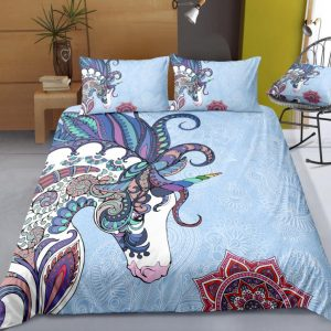 Light Blue Mandala Unicorn Bedding Set
