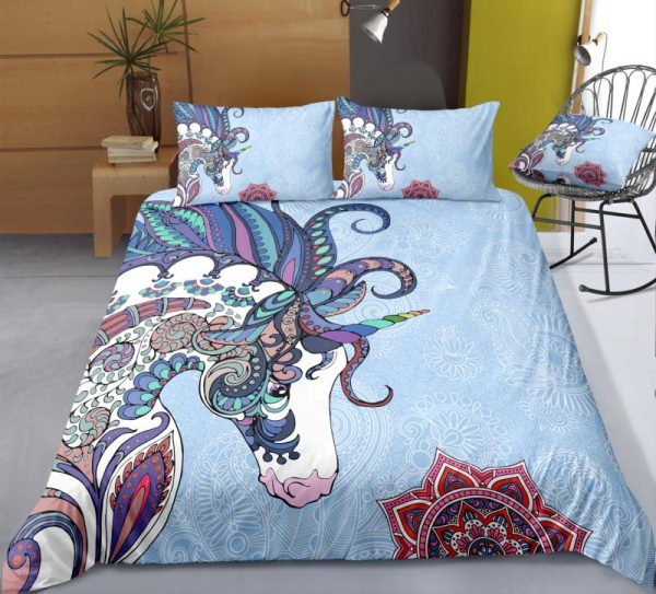 Light Blue Mandala Unicorn Bedding Set