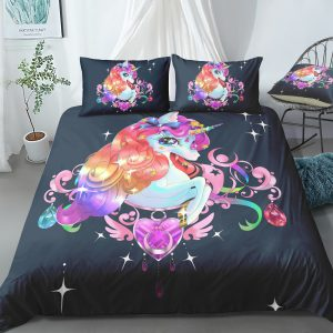 Mysterious Floral Unicorn Bedding Set