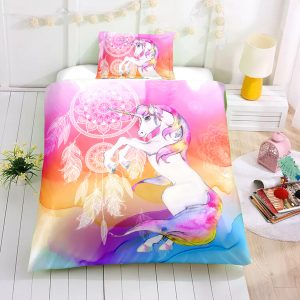 Personalized Custom Dreamcatcher Unicorn Bedding Set – Unicorn Gift For Girls – Unicorn Bedroom Set