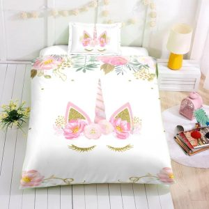 Personalized Custom Dreaming Unicorn Eyelashes Bedding Set – Unicorn Gift For Girls – Unicorn Bedroom Set